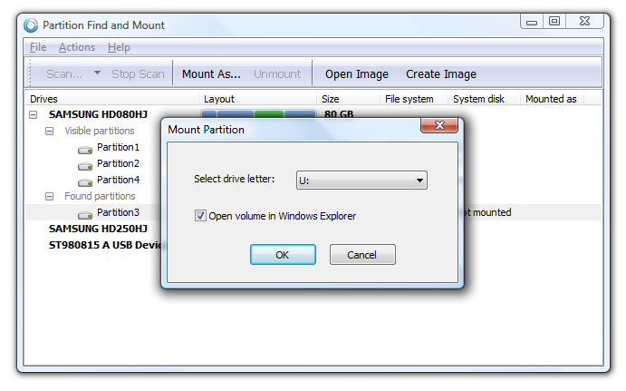 Click to view Partition Find and Mount 2.31 screenshot